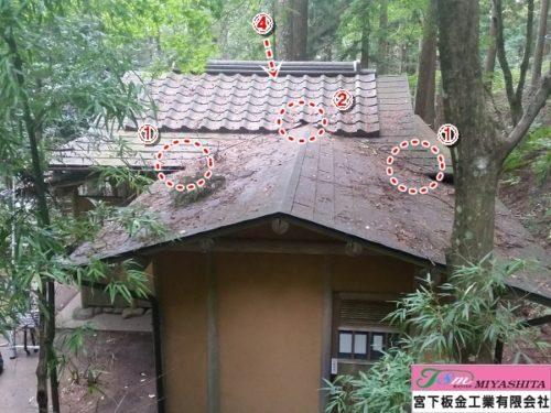 猿倉の泉、茶室、屋根2、箇所説明