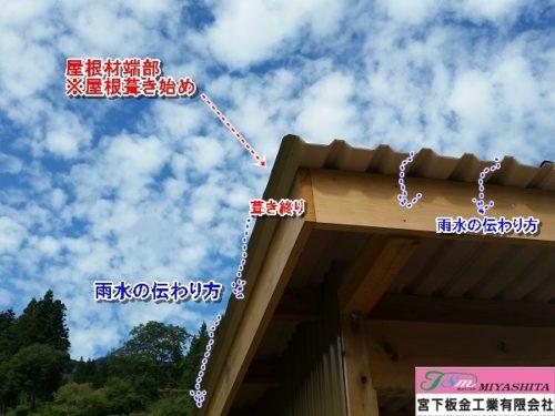 雨水伝わり、屋根材、木部