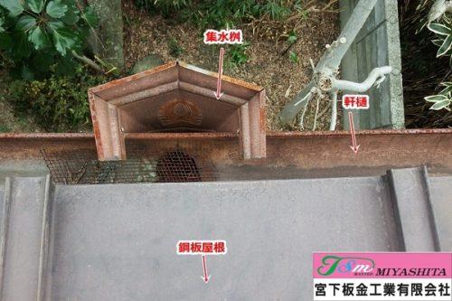 軒樋、集水桝、さび、内側