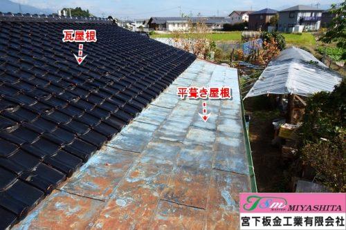 屋根、平葺、鋼板