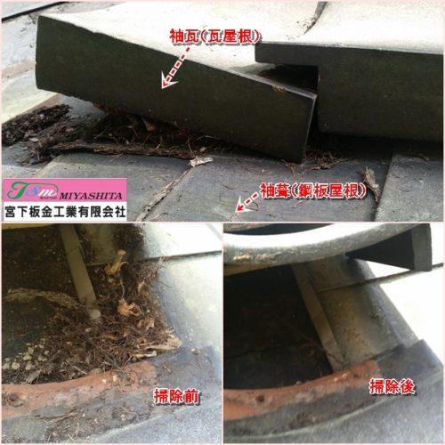 袖葺、袖瓦、鋼板屋根、取り合い、落ち葉